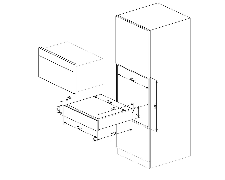 Smeg CPR615NX Einbau-Wärmeschublade Schwarzglas