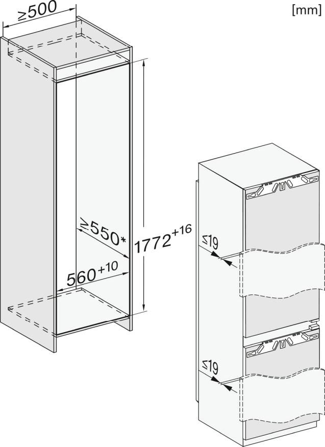 Miele KFN 7744 E Einbau-Kühl-Gefrierkombination