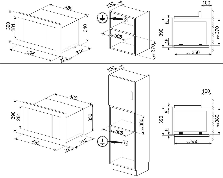 Smeg FMI120N2 Einbau-Mikrowelle Schwarzglas