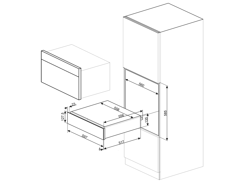 Smeg CPR715A Einbau-Wärmeschublade Schwarzglas