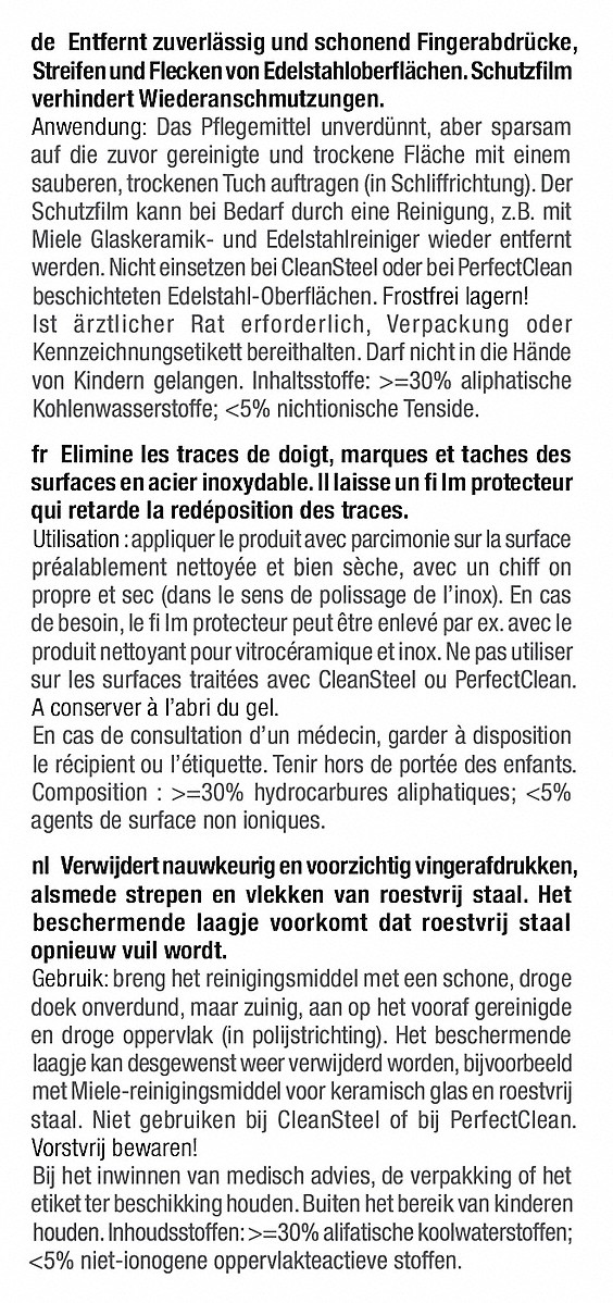Miele GP CA ST 0252 L Edelstahl-Pflegemittel SteelCare, 250 ml