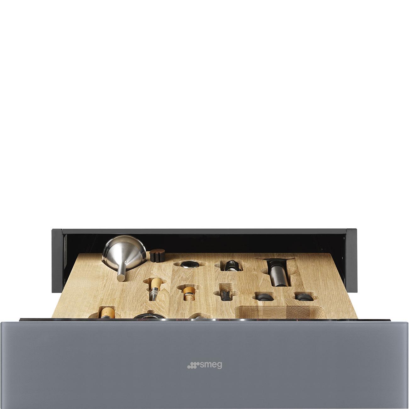 Smeg CPS115S Einbau-Sommelierschublade Silberglas