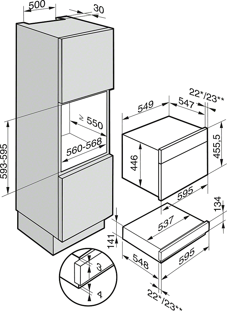 Miele ESW 6214 Einbau-Wärmeschublade Brillantweiß