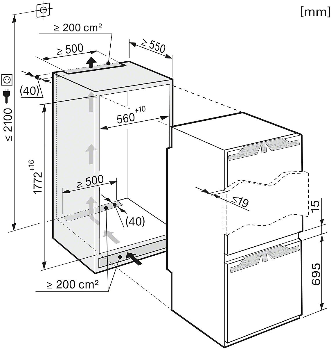 Miele KFN 37232 ID Einbau-Kühl-Gefrierkombination Weiß