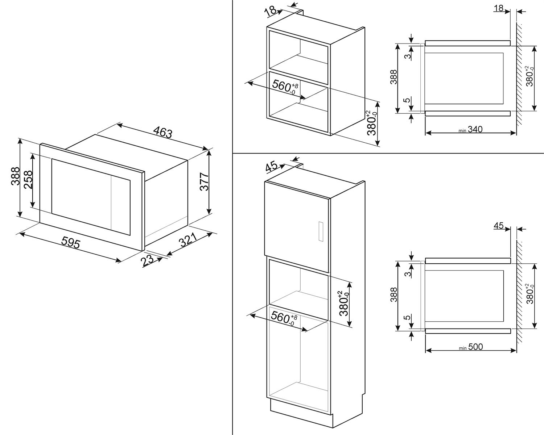 Smeg FMI020X Einbau-Mikrowelle Edelstahl