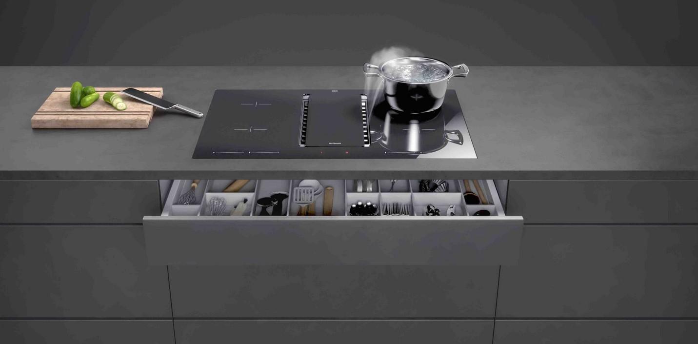 Gutmann 2801ML800C Induktionskochfeld mit integriertem Wrasenabzug Schwarzglas