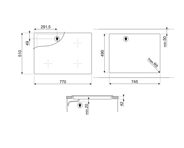 Smeg SE385EMTB Einbau-Glaskeramikkochfeld Schwarz